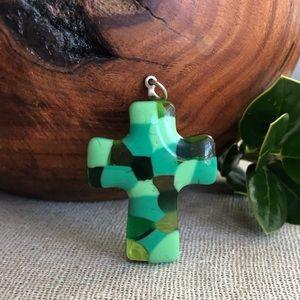 Green Glass Mosaic Cross Pendant
